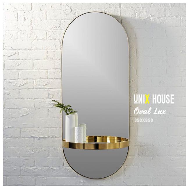 Gương đứng oval viền inox mạ vàng GO-05