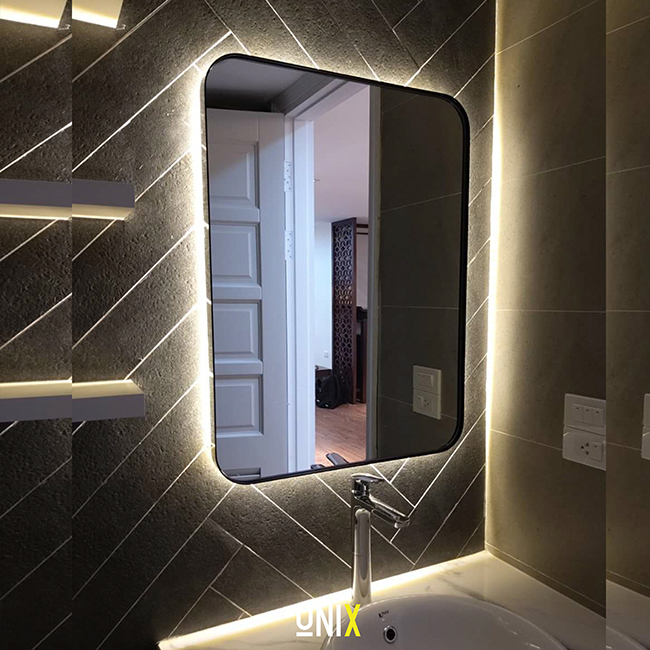 gương hình chữ nhật viền thép đèn led