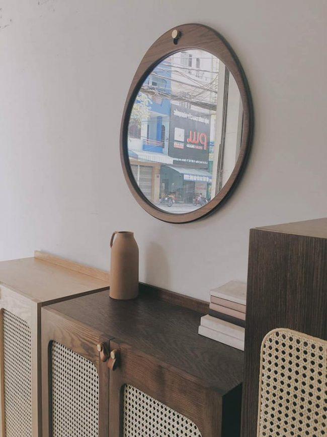 Gương tròn viền gỗ treo tường cao cấp - GT03