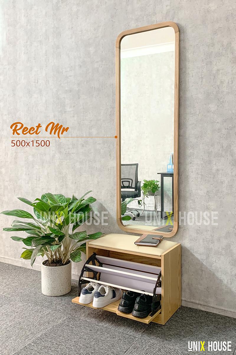 Gương soi toàn thân hình chữ nhật viền gỗ
