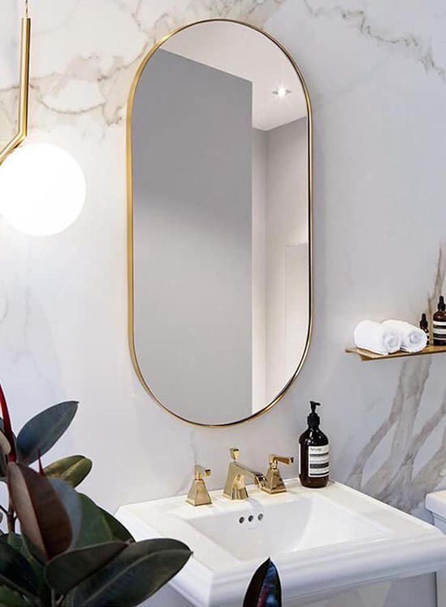 Gương đứng oval viền inox mạ vàng